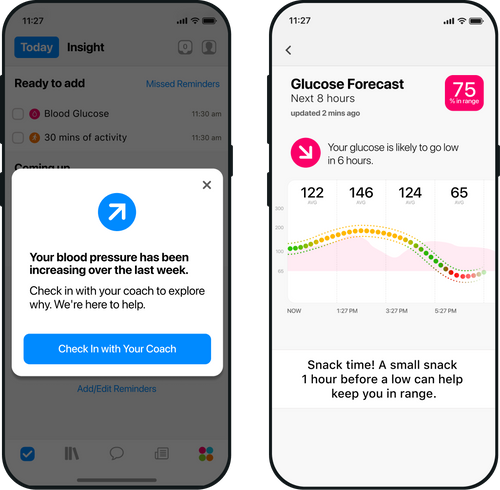Smartphone showing One Drop's AI-powered glucose predictions and health insights