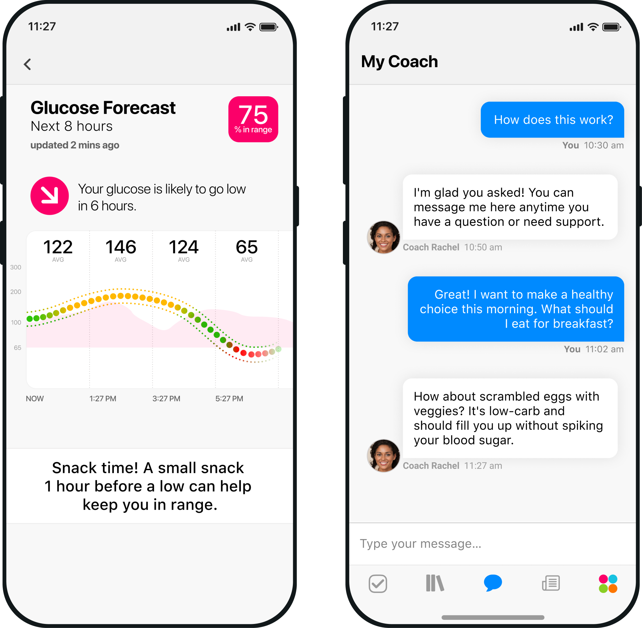 Two smartphones display One Drop's personal health and wellness coaching program