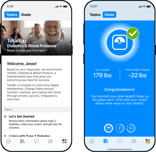 Two smartphones display One Drop's TotalRx health education transformation plan and weight loss goals screens