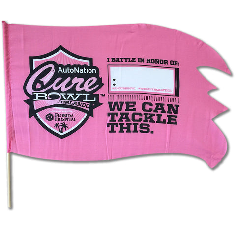 "CureBowl - 18"" x 28"" Polyester Battle Flag on 24 inch stick"