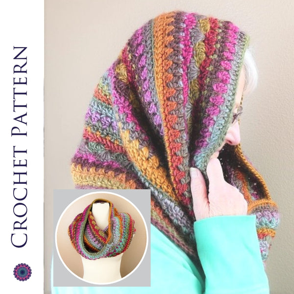 Self-Striping Hooded Cowl CROCHET PATTERN