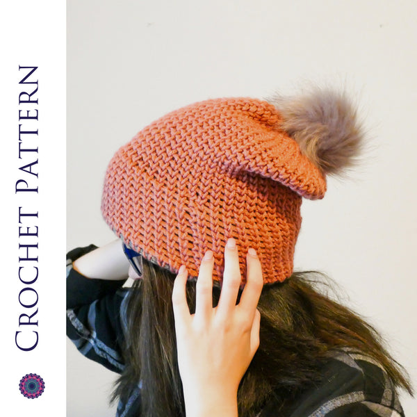Aspen Knit Look Double Brim Beanie Crochet Pattern | LITE