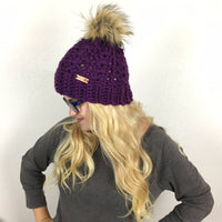 Women's CROCHET HAT PATTERN - Winter Hat Crochet Pattern - Winter Slouch Hat Pattern - Chunky Hat Pattern - Pom Pom Hat - Winter Beanie