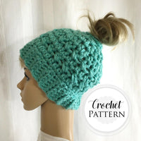 Messy Bun Hat CROCHET PATTERN - Pattern for Crochet Ponytail Hat - Bun Beanie Crochet Pattern - Running Hat Pattern - Viral Bun Hat Pattern