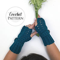 Feminine Lacey Fingerless Gloves CROCHET PATTERN - Crochet Fingerless Glove Pattern - Crochet Gloves - Texting Glove Pattern