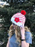 Women's Heart Hat CROCHET PATTERN - Super Chunky Heart Beanie Pattern - Warm Fair Isle Hat Crochet Pattern - Valentine's Day Crochet Pattern