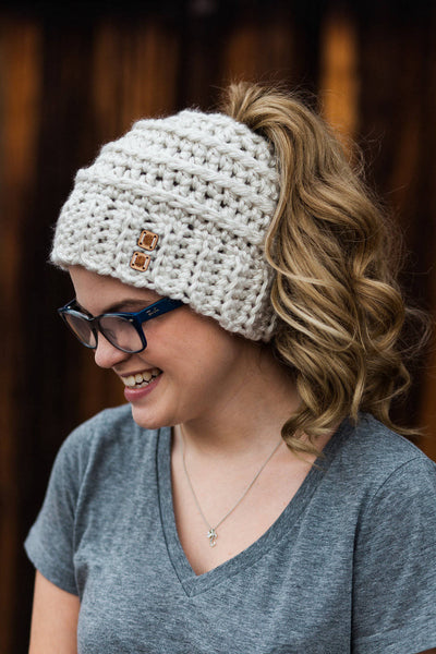 ... Messy Bun Hat CROCHET PATTERN - Bun Hat with Bow Pattern - Ponytail Hat  Crochet Pattern ... daf6a445688