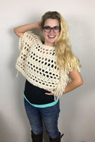 Fringed Crop Top CROCHET PATTERN - Mesh Shrug Pattern -  Boho Crop Top Pattern - Crop Sweater Crochet Pattern - Modest Festival Top Pattern