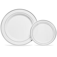 SILVER RIMMED WHITE PLATES THAT ARE AN ABSOLUTE STEAL