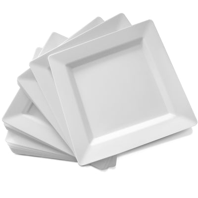 "7.25"" White Square Plastic Plates (50 Count) - SP7W"