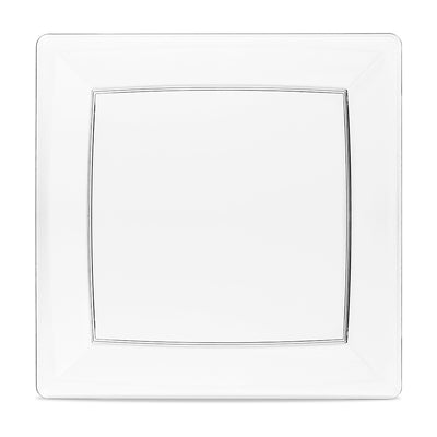 square plastic plate with clear rim