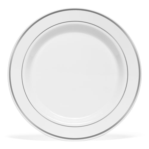 6 inch Plastic Silver Rimmed White Plates
