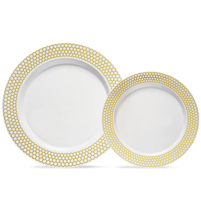 ten and seven inch gold rim plates