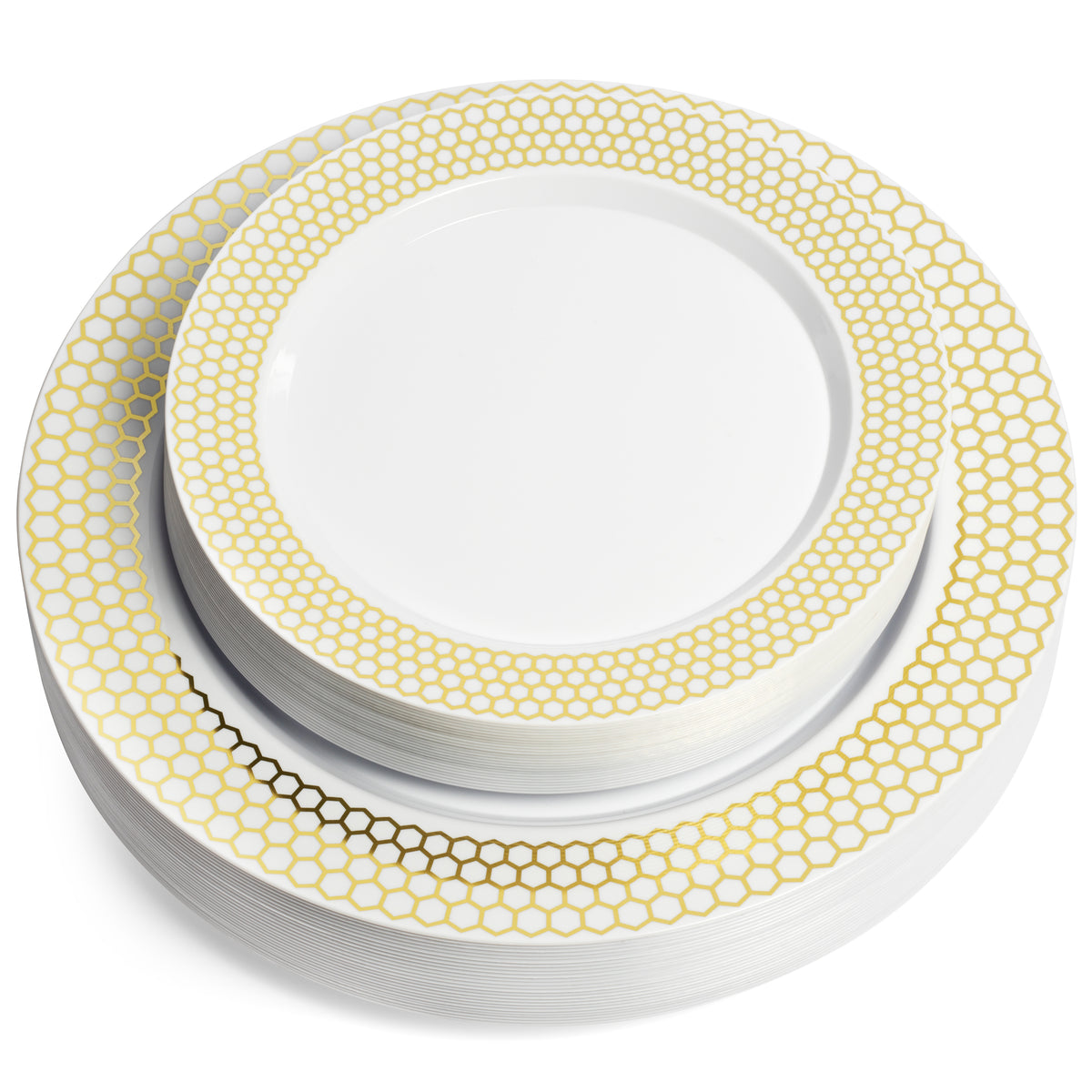 set of fifty gold rim plates