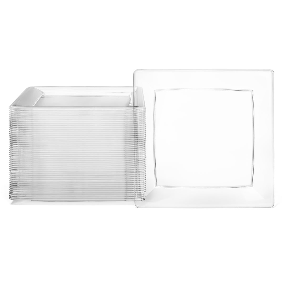 a pack of 50 square clear plate
