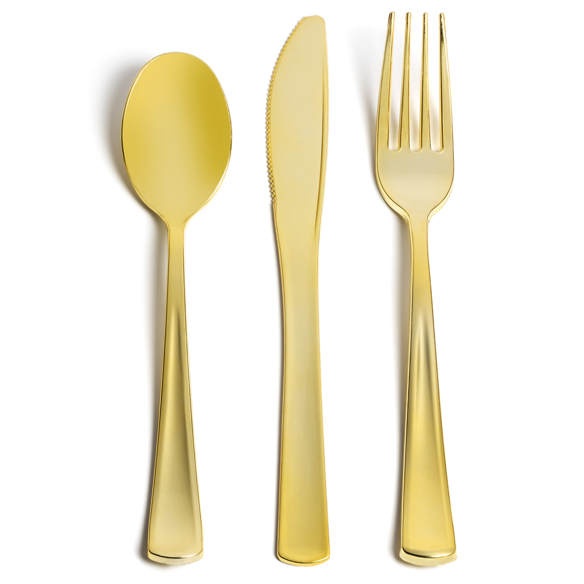 gold plastic cutlery set