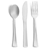 Premium Silver Design Plates and Cutlery Set (125 Count)