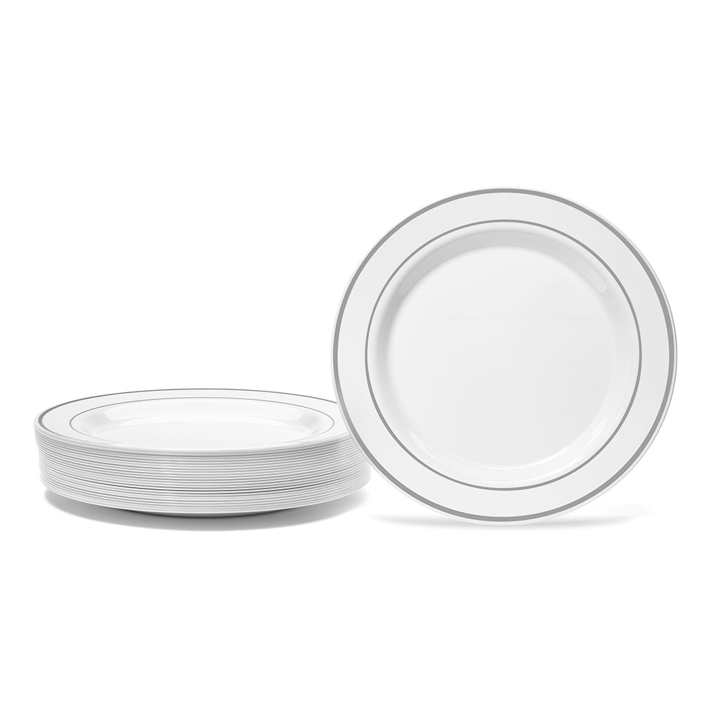 silver rimmed plastic plate