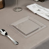 square clear plastic on table cloth