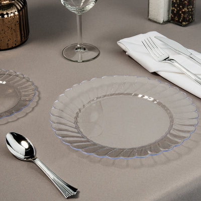 set of 9 inch and 6 inch clear plate