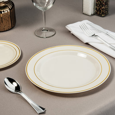 plastic cutlery with gold plates