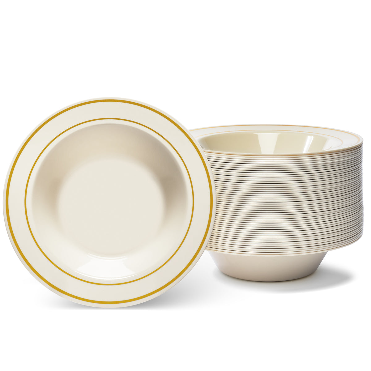 Gold Rimmed Ivory Bowls - 12 Oz - (50 Count)