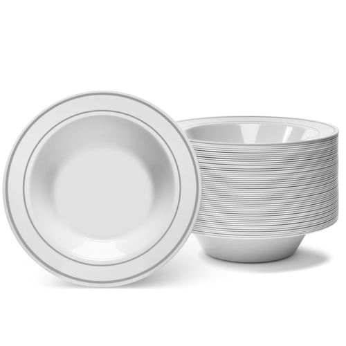Silver Rimmed Ivory Bowls - 12 Oz - (50 Count)