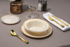 Gold Rimmed Ivory Bowls set of plates bowls and cutlery