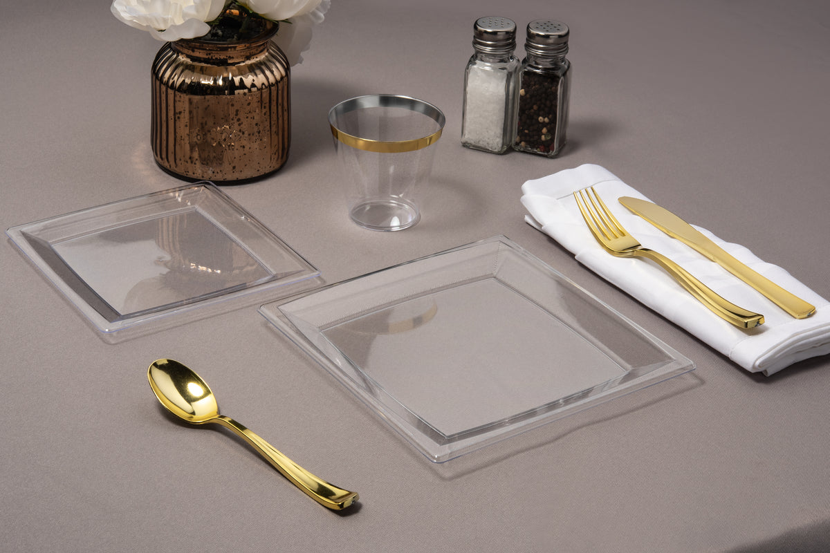 clear square plate on table
