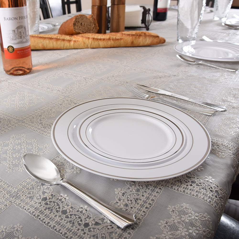 set of plastic plate on table