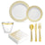 Premium Gold Design Plates and Cutlery Set (175 Count) - GRD1GC