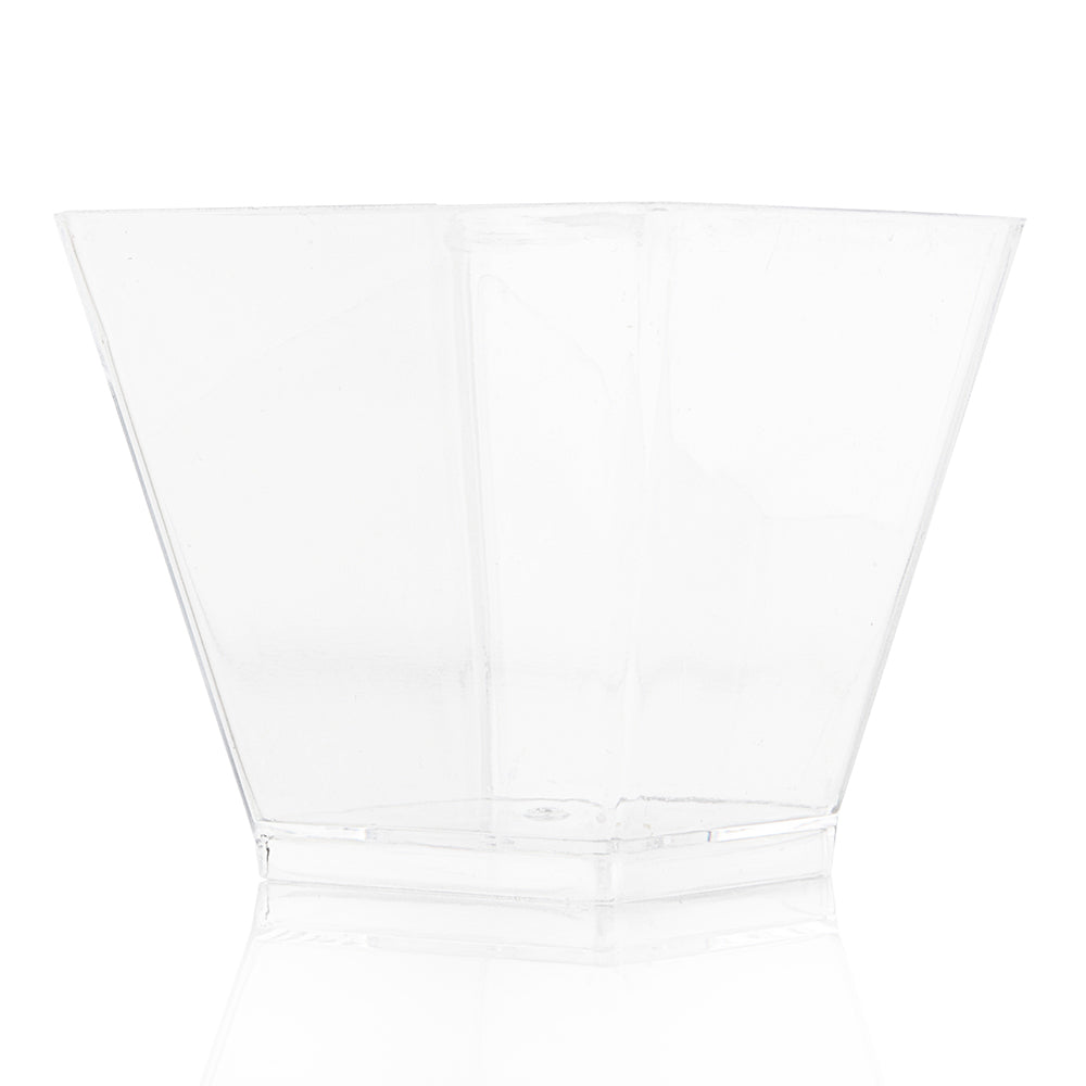 clear square mini cup on a white background