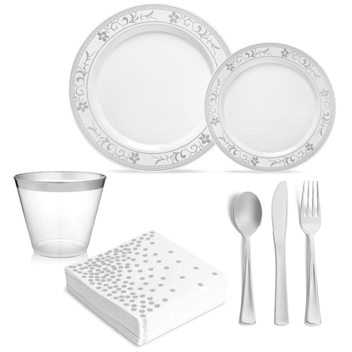 Premium Silver Flower Design Plates and Cutlery Set (175 Count) - SRD4SC