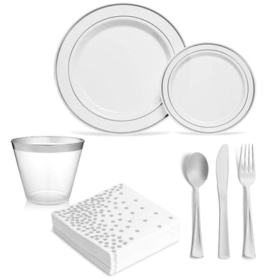 Premium Silver Rimmed Plates and Cutlery Set (175 Count) - SRD3SC