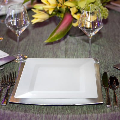 "10"" White Square Plastic Plates (50 Count) - SP1W"