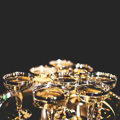 set of fifty Champagne  cup in a party