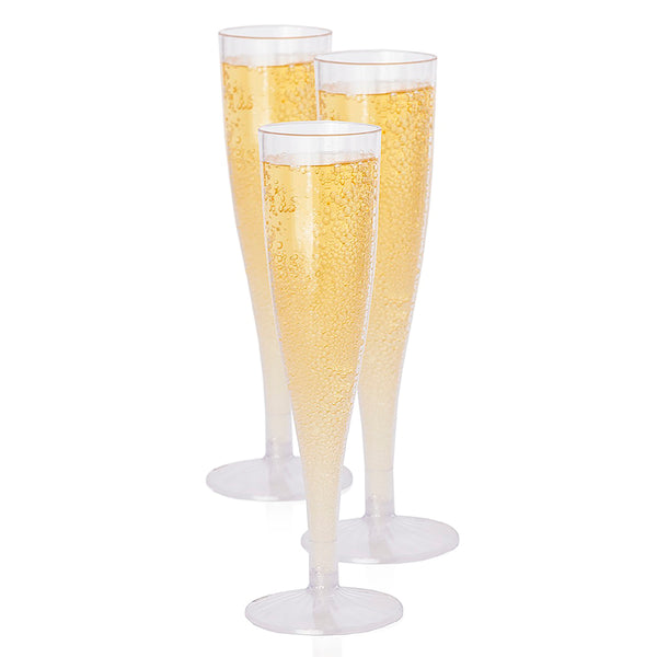 Premium Hard Plastic Champagne Flute Box Set - 10 5.7 Oz Clear Stem Cups - OasisCreationsUSA