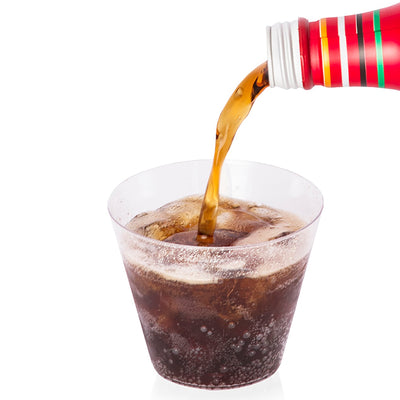 9 ounce clear plastic cup with coke