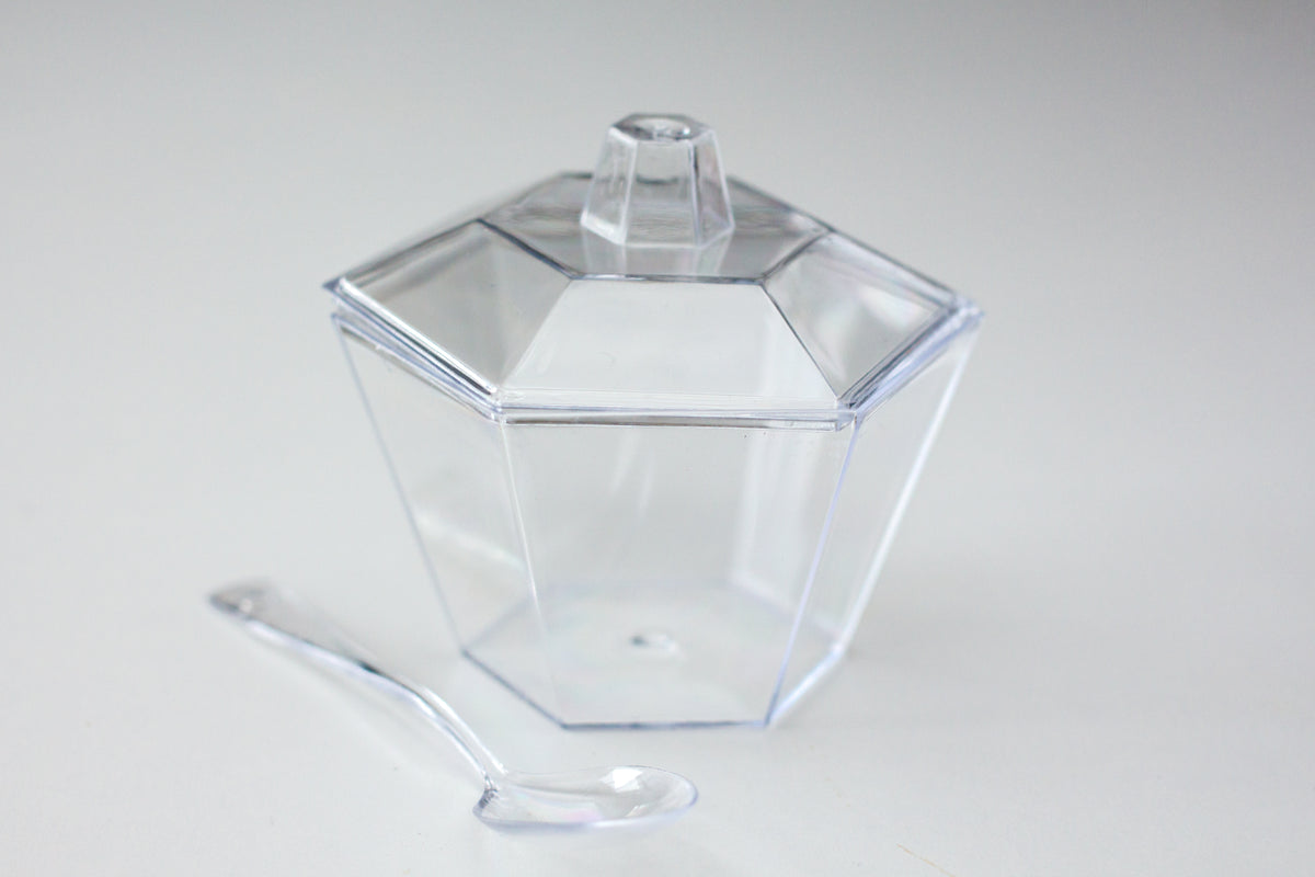 Hexagonal mini plastic bowl on a white background