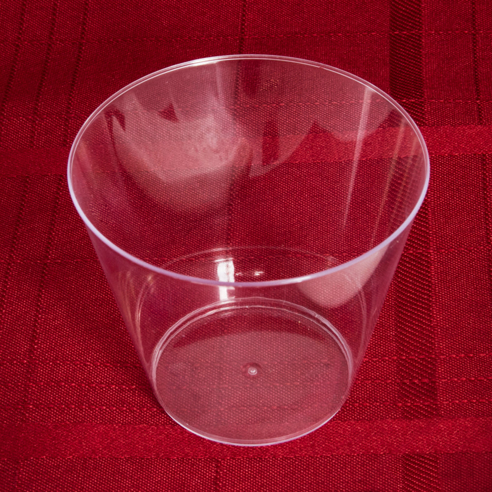 plastic cup on red cloth
