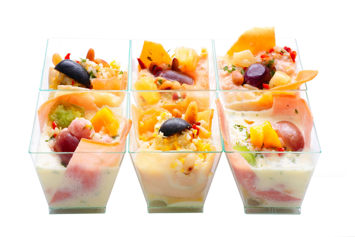 Square Mini Dessert Cup with fruits and spoons
