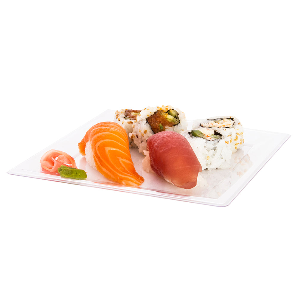 plastic plate clear with sushi