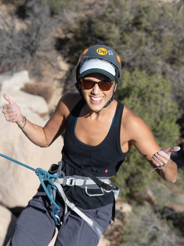 Fern Morales climbing in Arêt Basewear at the Ladies Weekend Out in Joshua Tree