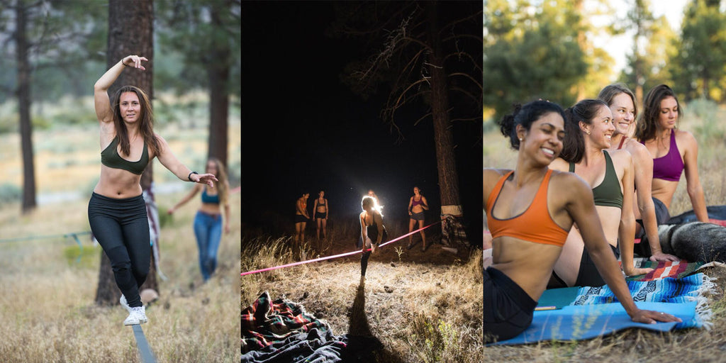 From Left: Olivia keeps her focus while walking a slackline in the woods. The gals had so much fun walking the slackline we stayed into the moonlit  night. We take yoga very seriously, can't you tell? Model and yoga teacher Sonia lead the way through a proper Vinyasa flow.