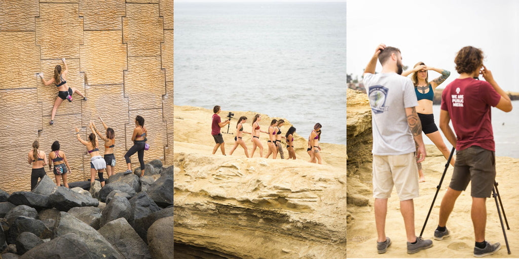 From Left: Model Olivia Diaz traverses by the sea, with trusted spotters below. To the cliffs! The gals donned their Aret #basewear rock climbing sports bras and took a big leap into the ocean. Our talented videographers interviewing model and activist Alex Blackbird