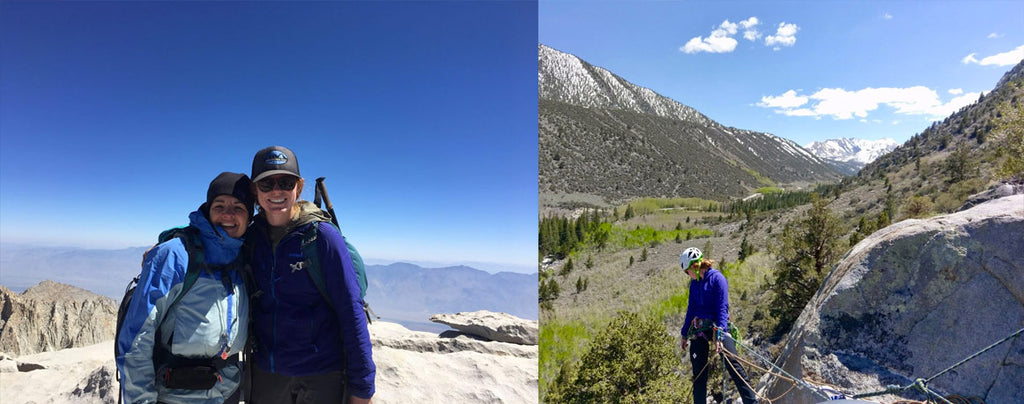 From Left: Mountain Guide in training Lauren on Top of Mount Whitney with client Cara on the Women's Mount Whitney Trip. Lauren teaching rappelling.
