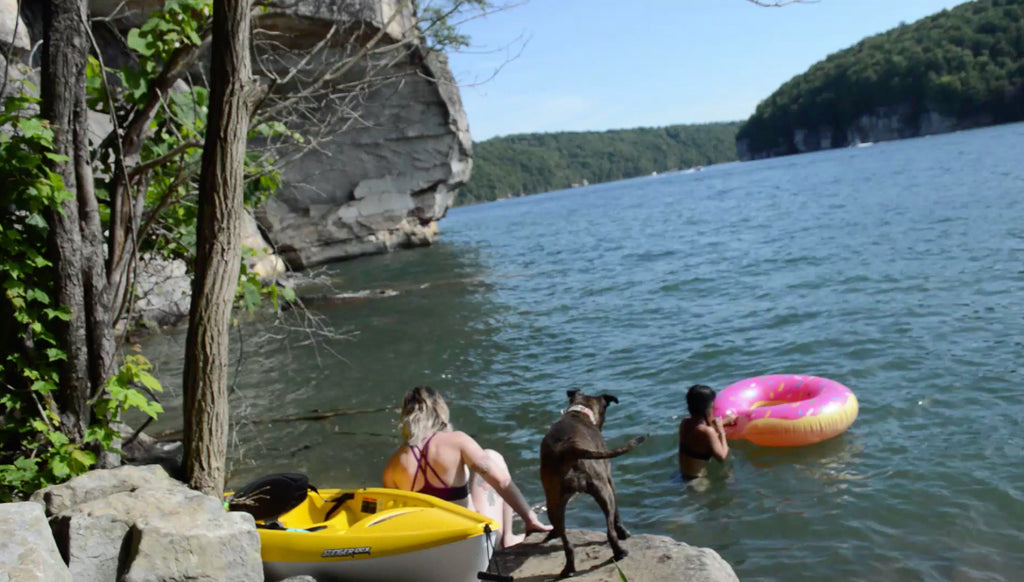 Kathy, Alma, and Shooter enjoying Summer by the Lake at the New River Gorge