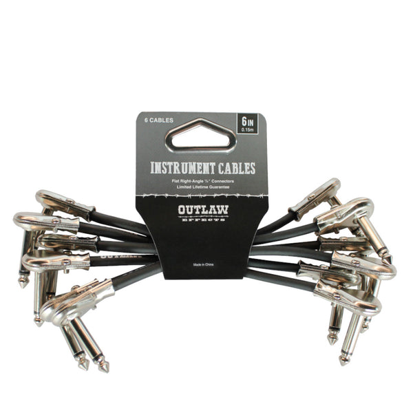 "Outlaw Pedals 6"" Instrument Patch Cables Right Angle 1/4"" 6 Pack-ThePedalGuy"