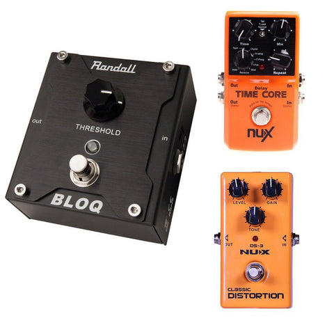 Randall BLOQ Noise Gate NuX DS-3 Distortion and NuX Time Core Delay Bundle-ThePedalGuy