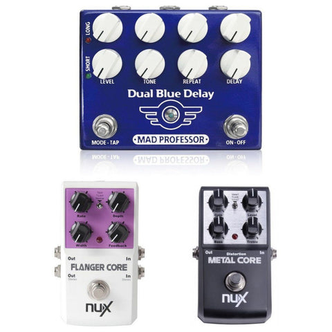 Mad Professor Dual Blue Delay with NuX Flanger Core and Metal Core-ThePedalGuy